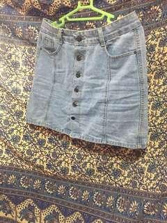 A Line Button Down Denim Skirt
