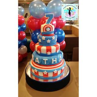 5-Layer Captain America Theme Fondant Cake (all Belgian chocolate layers and fondant decors)