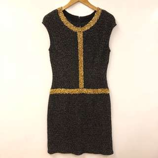 斯文裙 St. John black with gold dress size 12