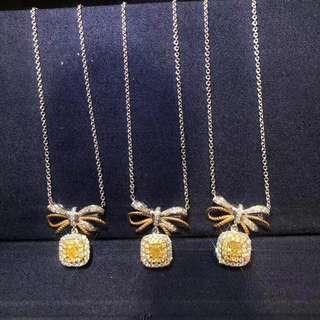 黃鑽頸鏈 主石0.20ct-0.22ct 襯鑽0.235ct 只售7000