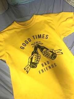 Good Times Bad Friends Mustard Shirt