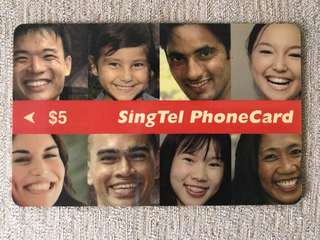 🚚 SingTel PhoneCard - Smiling Faces