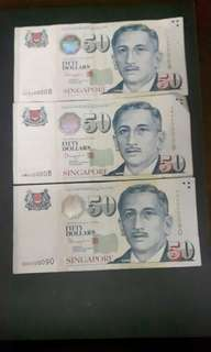 Singapore Note  ( Nice No)  4CX400008  4MH400008  5HX500090  ($80 Each) Collectable