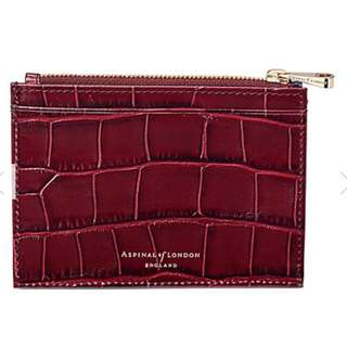 ASPINAL OF LONDON Reptile-effect leather double-sided coin and credit card holder