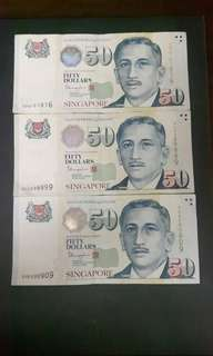 Singapore Note  ( Nice No)  5BU161816  4CV298899  5HK690909 ($60 Each)Collectable