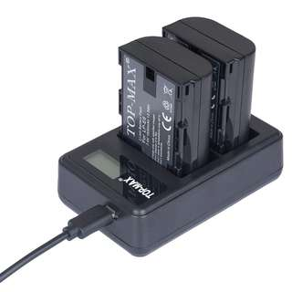 921. TOP-MAX LP-E6 LP-E6N LCD USB Dual Charger