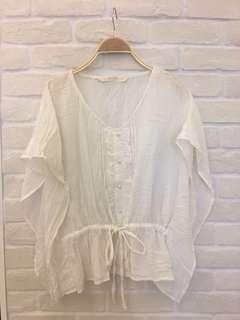 🚚 日本專櫃沁涼皺皺質感上衣,衣長:56cm,8成新