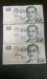 Singapore Note  ( Nice No)  5DB444449  5CQ444944  5BK747777 ($80 Each) Collectable