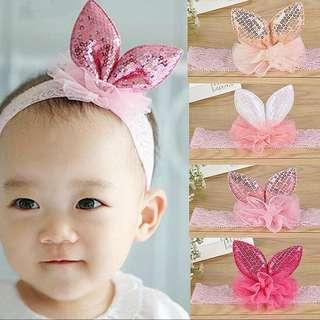(B36) Rabbit Ear Headband Hair Band Hair Bow Hair Clips Accessories