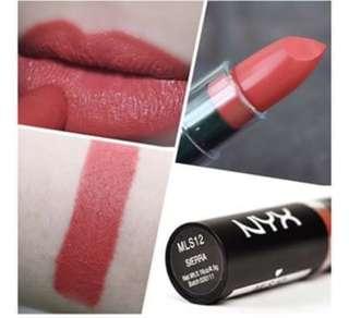 NYX matte Lipstick shade MLS12 Sierra Original