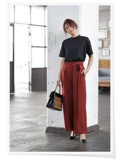 Wide Leg Pants Tie Waist - Uniqlo