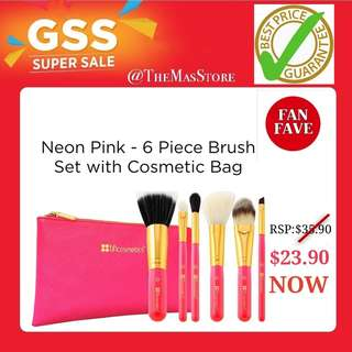 🚚 Bhcosmetics - Neon Pink 6 piece brush set with cosmetic bag