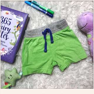 Mothercare green baby shorts size 6-9 m