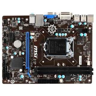 🚚 微星 H81M-P33 全固態電容主機板、1150腳位、支援DDR3、USB 3.0與SATA 6Gb、優良品、附擋板