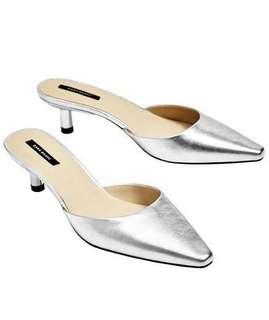 Zara Silver Leather Pointy