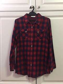 Red and blue ELLE flannel size M