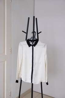 Off White Long Shirt with Black Detail