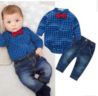 2PCS Baby toddler Boy clothes Long sleeve plaid bodysuit top with Denim Jeans long pants Birthday Baby boy Party Event Wedding Suits vest ribbon tie Blue red checkered shirt topqq
