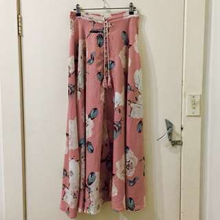 Pink and White Floral Maxi Skirt