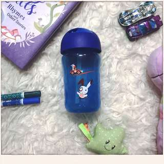 Avent Blue Straw drinking cup 18+m