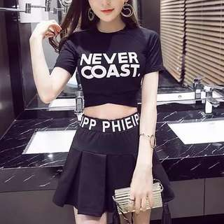 2-piece top & skirt set ulzzang kpop jpop trendy cool korean crop sporty sports dance club group uniform female girl woman women lady ladies