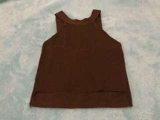 Sleeveless brown top