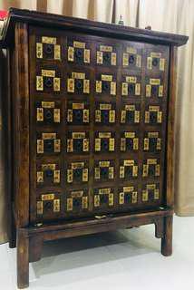 Antique Teak Solid Wood Wine Cabinet