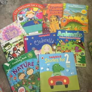 activity, stickers and story books