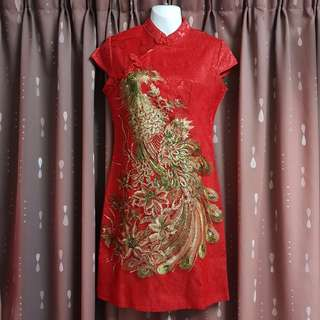 Red Cheongsam with Beautiful Embroidered & Sequined Phoenix (NWT)