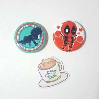 MEGASALE of anime Badge, sticker, bookmarker, keychain