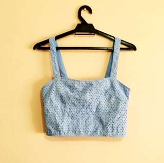 Powder Blue Eyelet Crop Top