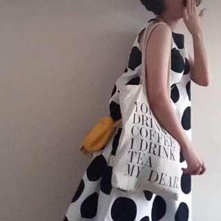 OshareGirl 06 歐美女士時尚圓領波點印花寬鬆無袖連身裙洋裝