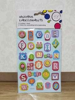 Pop Artz 'Alphabet' Handmade Embellishments