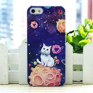 Apple iphone 6s、6s plus 星球白貓咪 卡通浮雕 超薄透明邊 彩繪手機殼  特價$50 只餘幾件