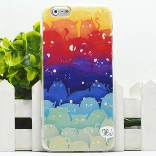 Apple iphone 6s、iphone 6s plus 漸變貓3 卡通浮雕超薄透明邊 彩繪手機殼 特價$50