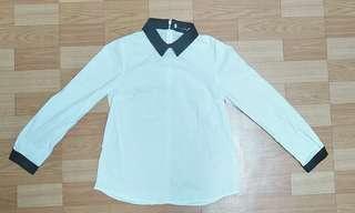 🚚 黑白拼接襯衫(後拉鏈)