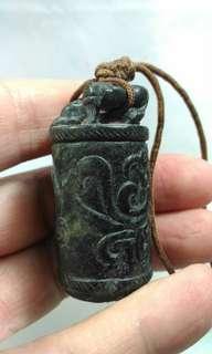 舊青墨玉圓柱形龍鳳玉器
