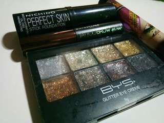 Bys glitter pallet, tattoo brow, mascara, foundation stick