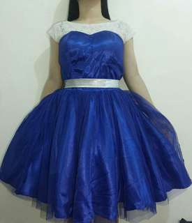 Blue Cocktail Dress with White Lace and Ribbon
