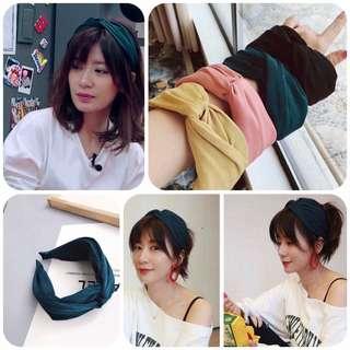 🚚 #我的超人媽媽 #賈靜雯同款真絲交叉髮箍(較寬版) $100/ 黃 粉 綠 黑 預購