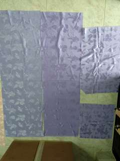 4 pieces new shiny purple textured fabric w patterns