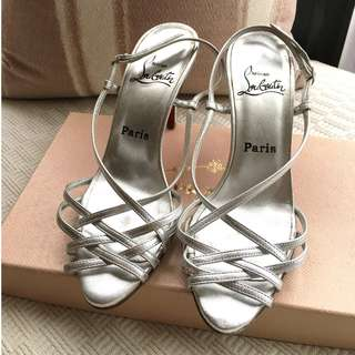 """Christian Louboutin  """"Cage"""" leather heel sandals shoes  @Size 37-1/2 @Made in Italy ...."""