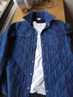 🚚 出清!韓國製牛仔丹寧鋪棉襯衫式外套