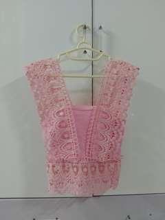 Pastel v crochet top pink lace renda tanktop bkk bangkok