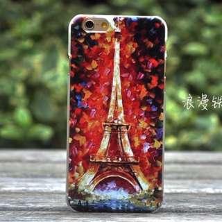 Apple Iphone 6s plus 浪漫鐵塔 立體浮雕油畫 超薄 手機硬殼 手機套 特價$50 * 最後一件