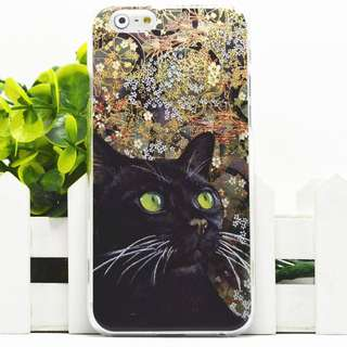 Apple iphone 6 plus 黑貓 3D立體卡通浮雕 超薄透明邊 彩繪手機殼 原價$98 特價$50 只餘一件