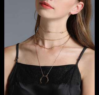 Dainty crescent layered Choker Necklace