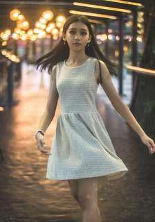 REPRICE! Dress warna light cream brown/nude