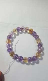 黃紫白水晶手鏈,$150。