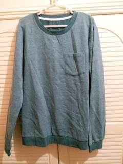 全新 男裝綠色長袖上衣 中碼 衫長28寸,胸闊21.5寸